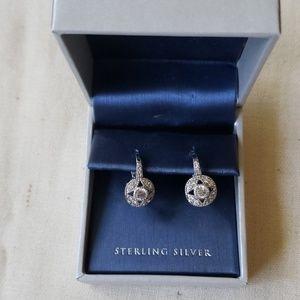 Sterling Silver & Faux Diamond Earrings New in Box